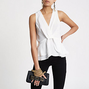 White twist front frill hem top