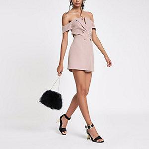 Combi-short Bardot habillé rose clair