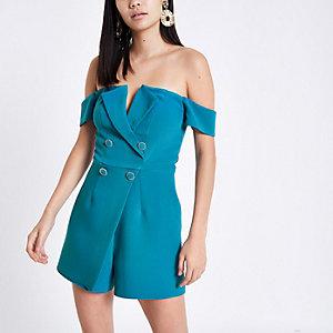 Combi-short Bardot habillé bleu vif