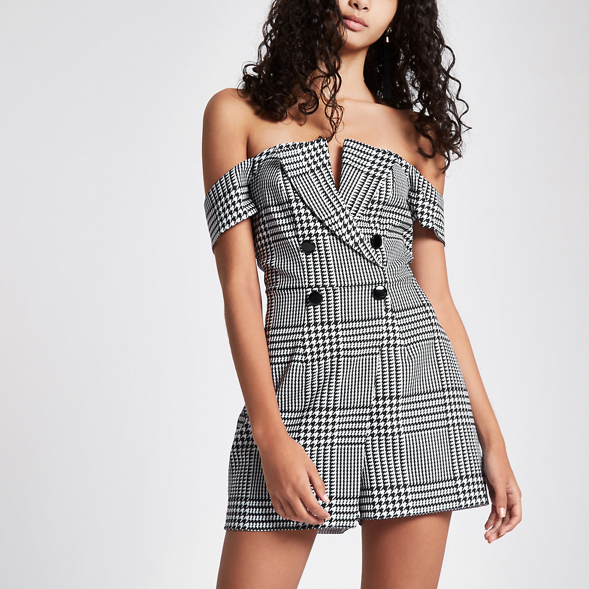 6fb758ef59e Grey check bardot tux playsuit - Playsuits - Playsuits   Jumpsuits - women