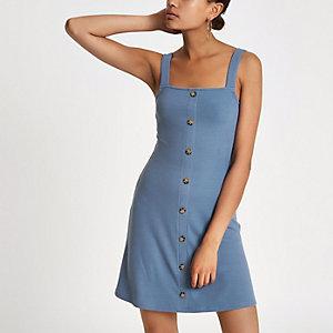 Blue button front rib mini dress