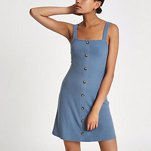 Blauwe geribbelde mini-jurk met knopen voor
