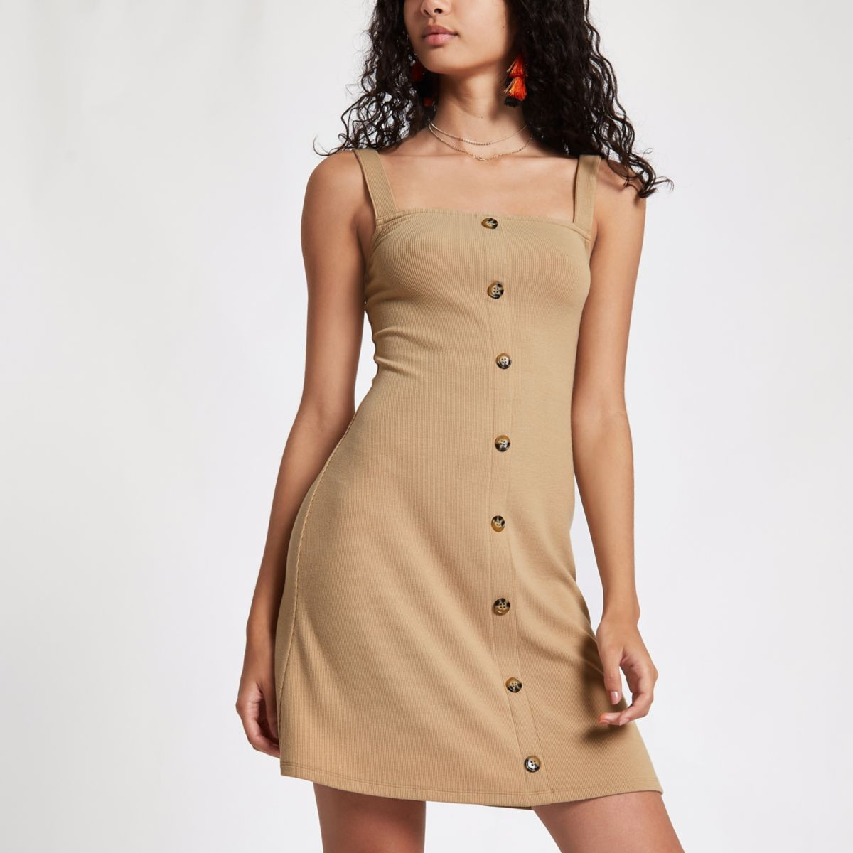 Beige button front rib mini dress