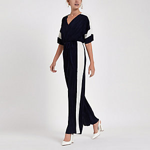 Navy plisse V neck wide leg jumpsuit