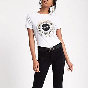 Wit aansluitend T-shirt met '1988'-print en korte mouwen
