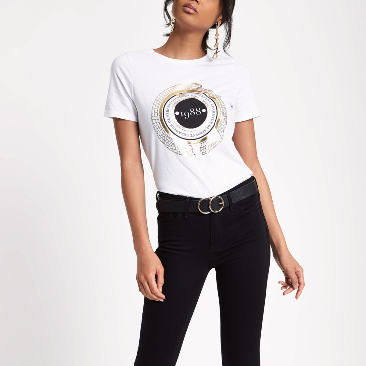 White '1988' fitted short sleeve T-shirt
