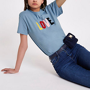 """Blaues Boyfriend T-Shirt """"Love"""""""