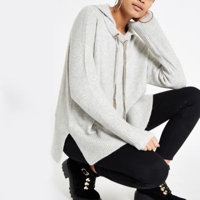 Grey Knitted Hoodie by River Island