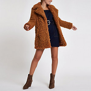 Petite brown shearling fur longline coat