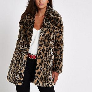 Petite brown leopard print faux fur coat