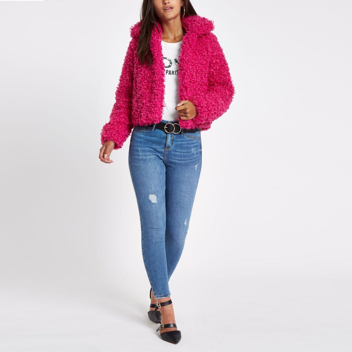 Petite pink faux fur crop jacket