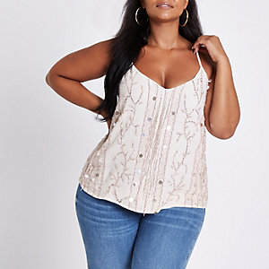 Plus light pink embellished cami top