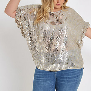 Plus cream embellished frill sleeve top
