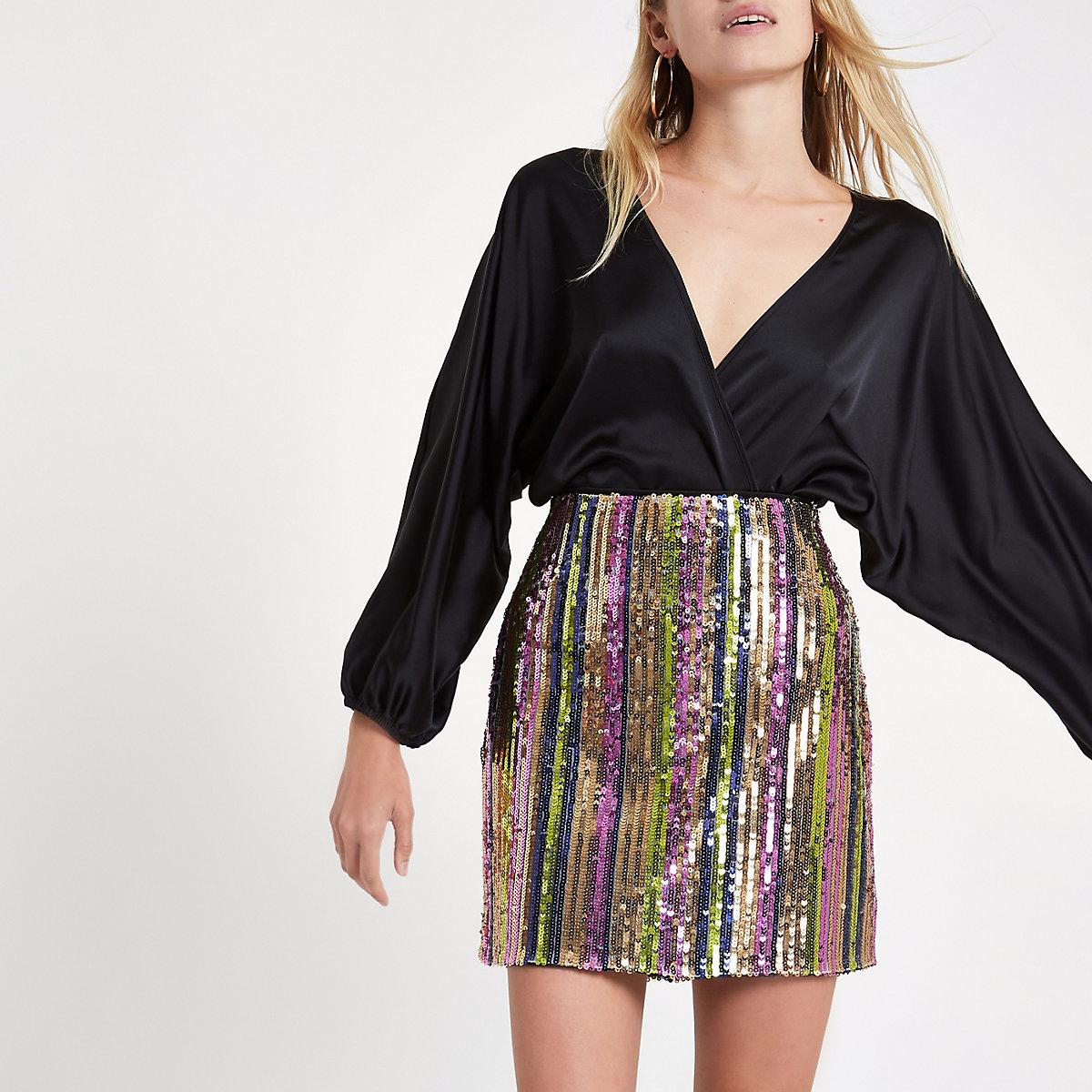 Pink stripe sequin mini skirt