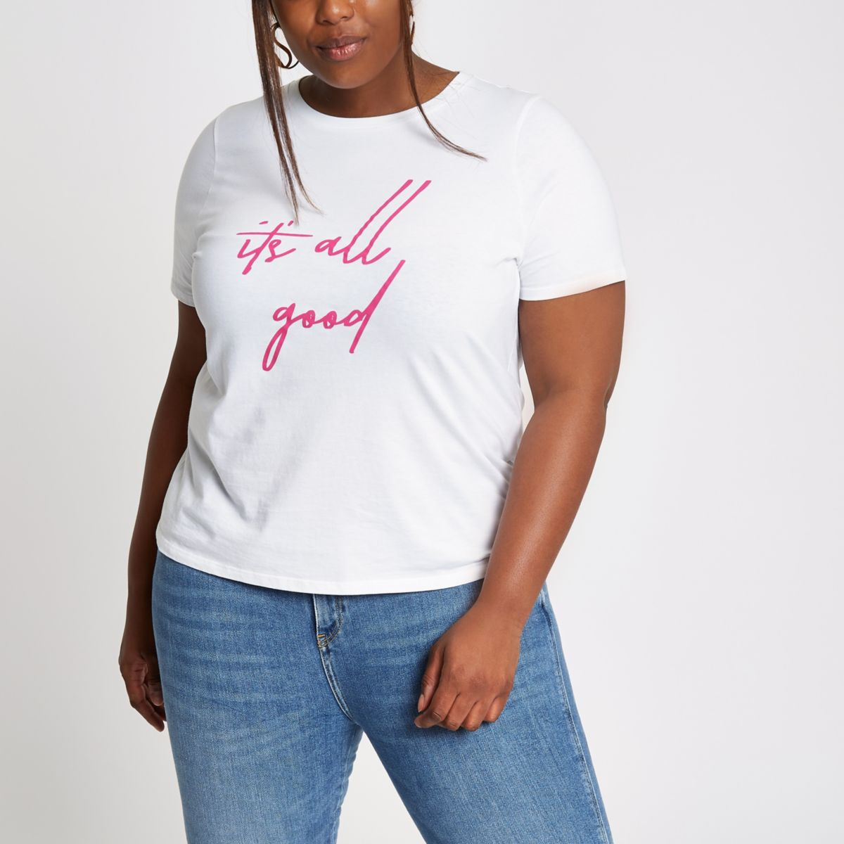 Plus white 'it's all good' print T-shirt