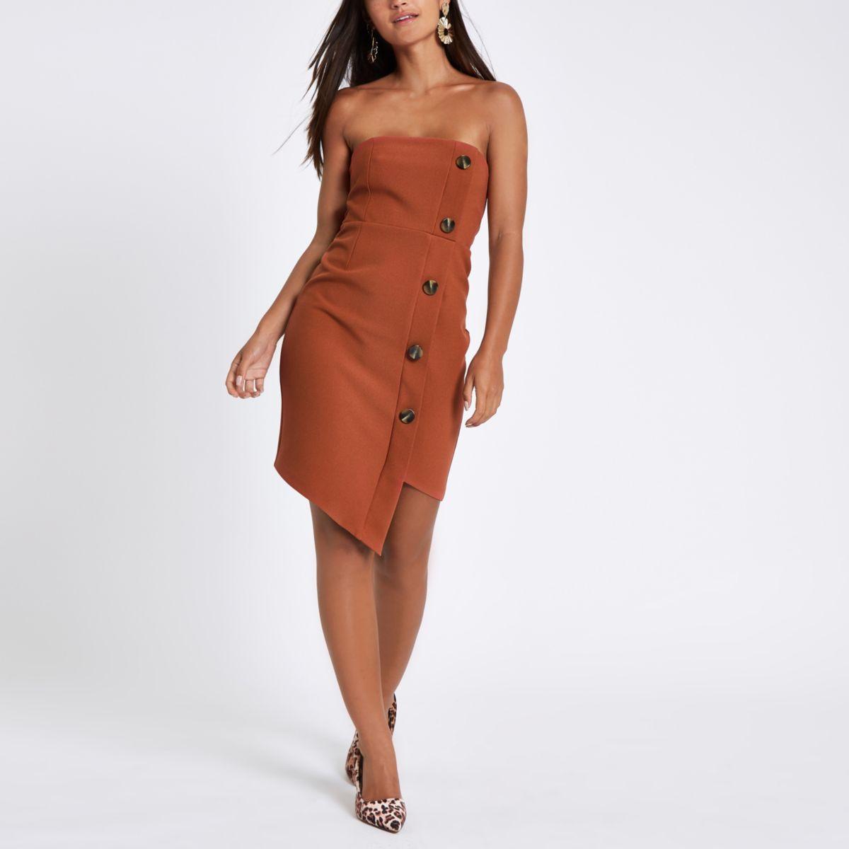 Petite rust button bandeau mini dress