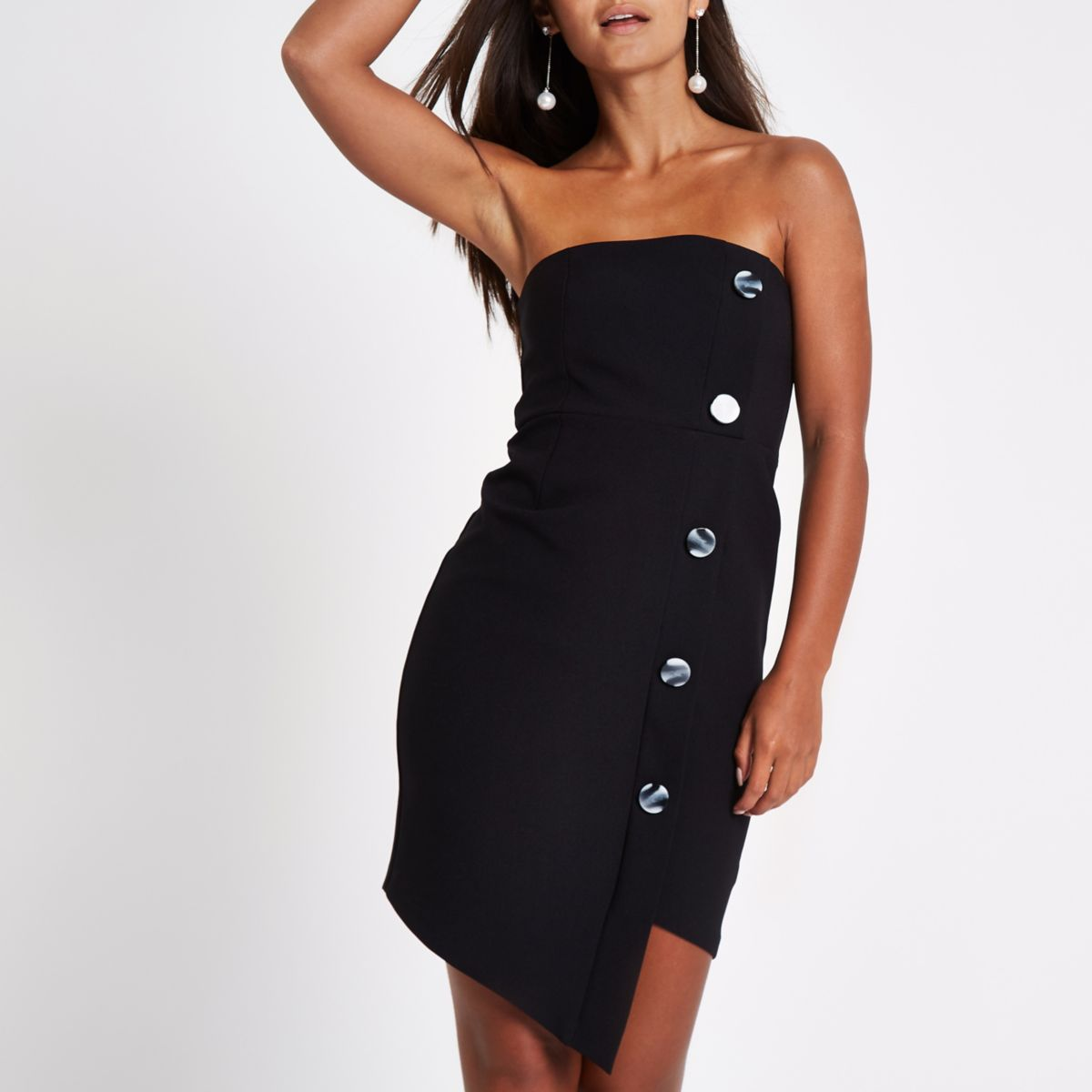Petite black button bandeau mini dress