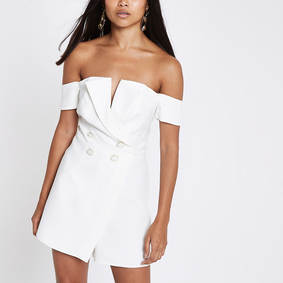 b61bc4f1870 Petite white bardot tux playsuit - Playsuits - Playsuits   Jumpsuits - women