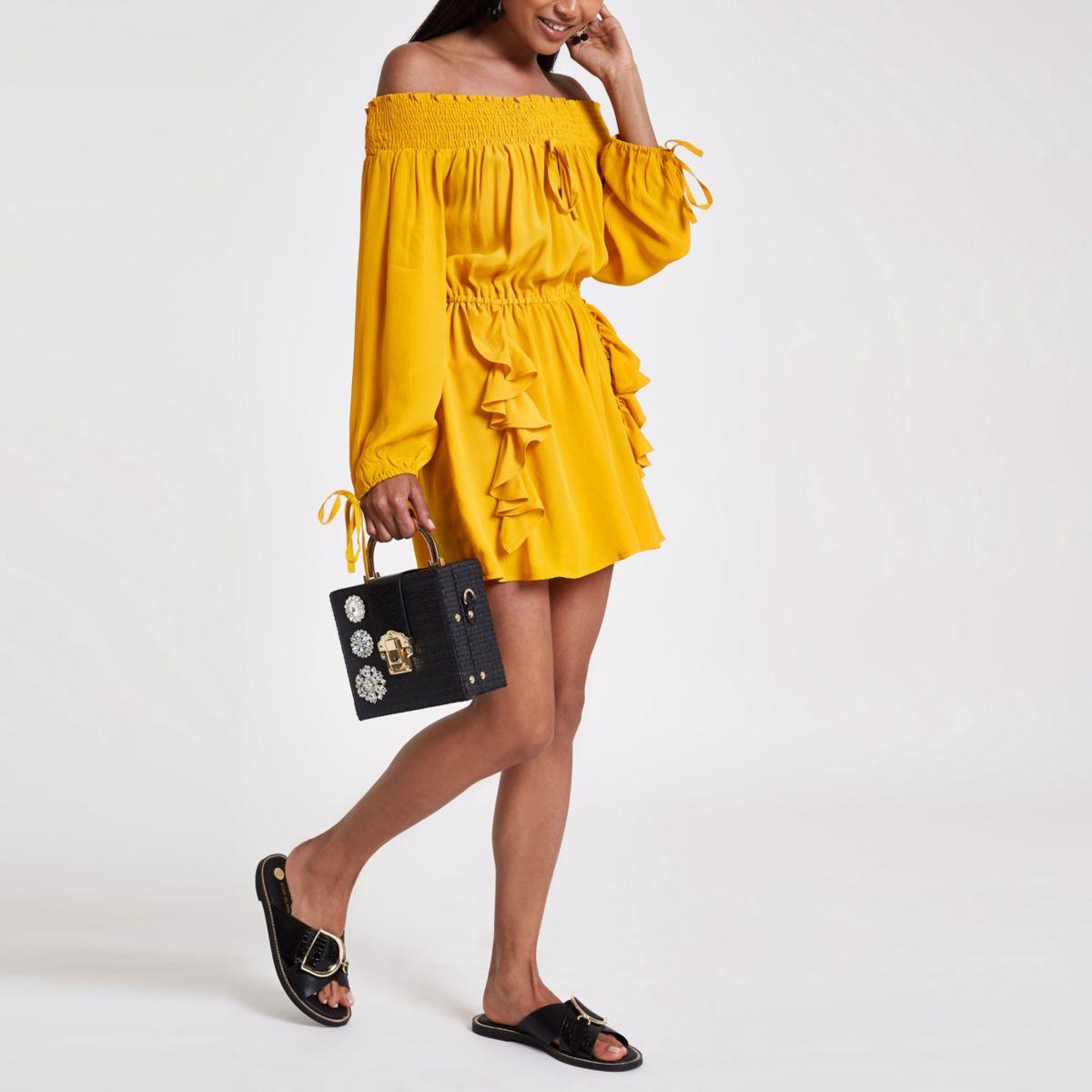 Petite yellow frill front bardot playsuit