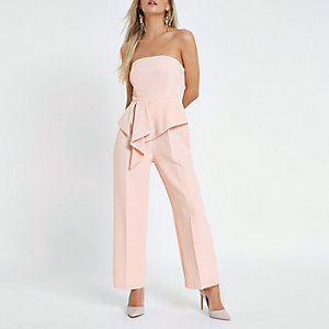 Petite light pink bandeau jumpsuit