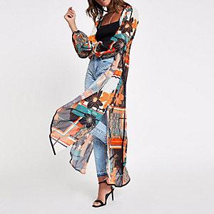 Oranger, geblümter Kimono