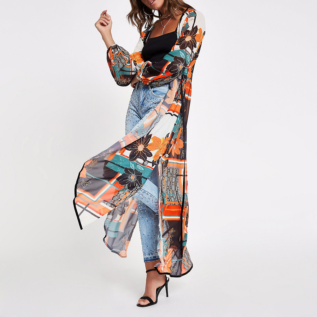 Orange floral embellished kimono