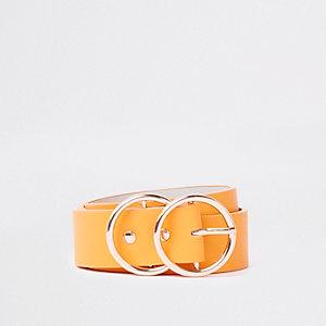 Gele jeansriem met dubbele ring en gesp