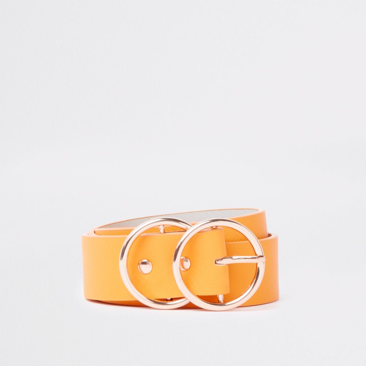 Yellow double ring buckle jeans belt