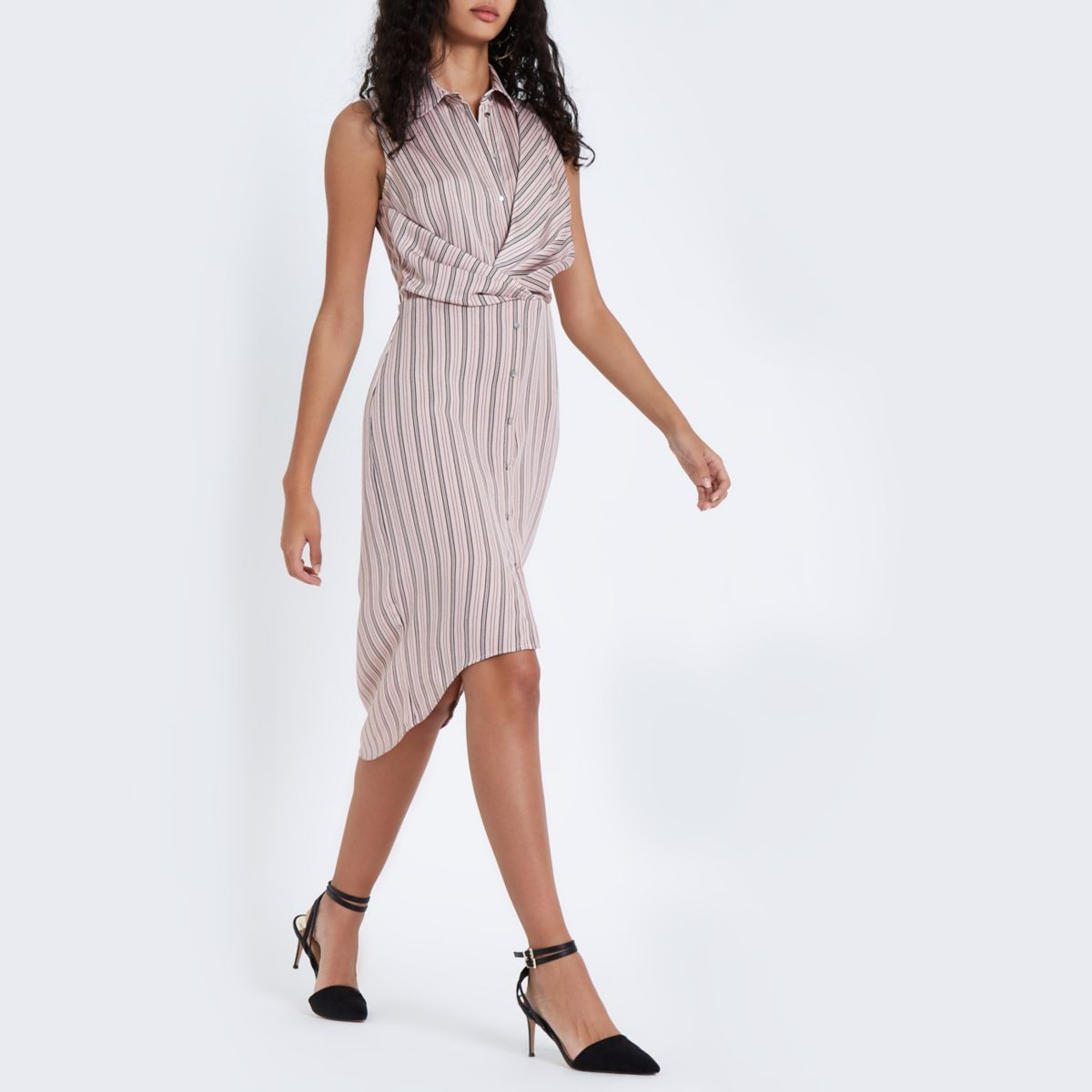 Pink stripe twist front midi shirt dress