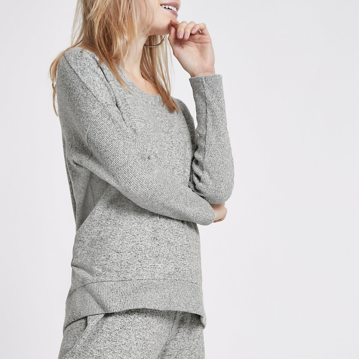 Petite grey jersey V neck sweater