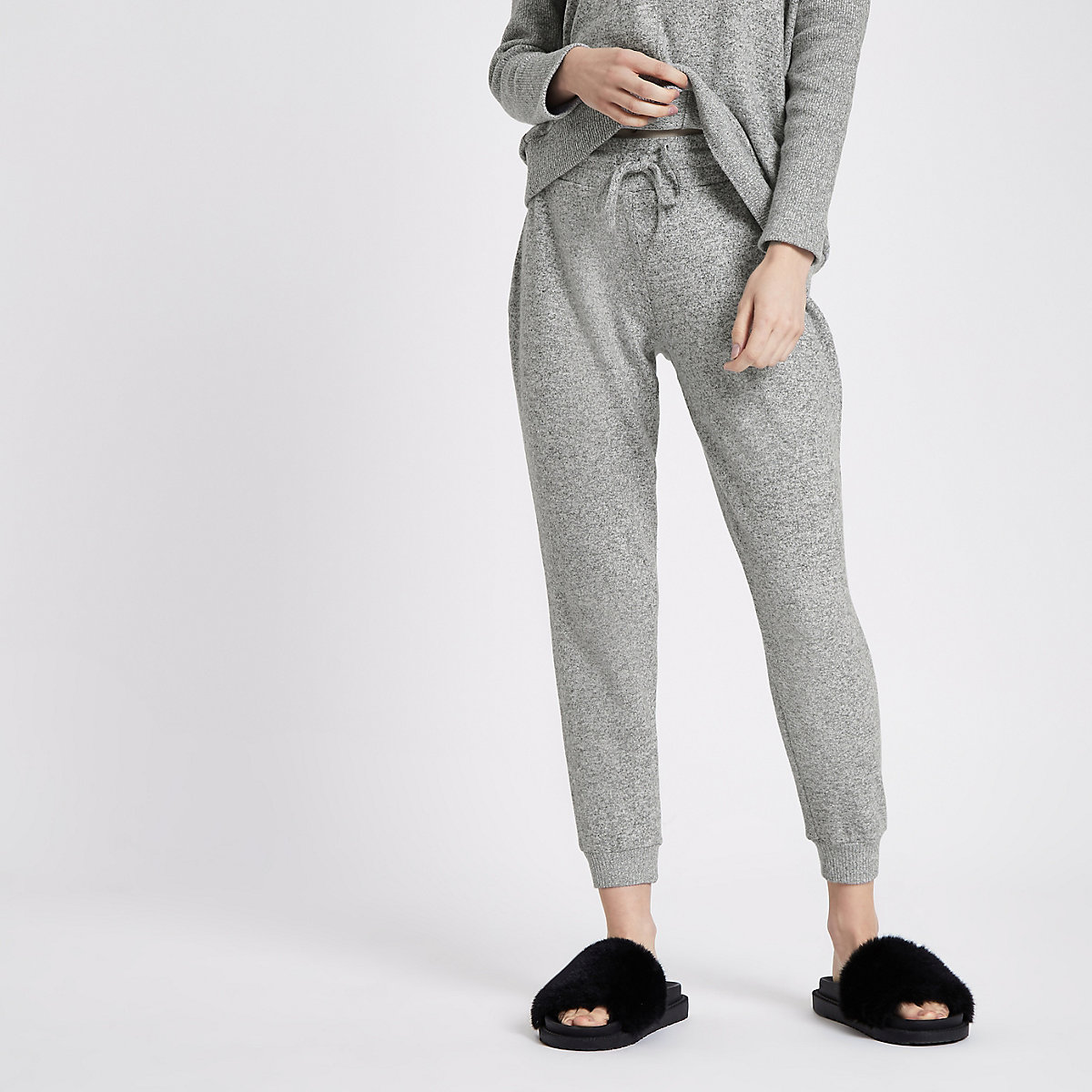 Petite grey jersey slim fit joggers