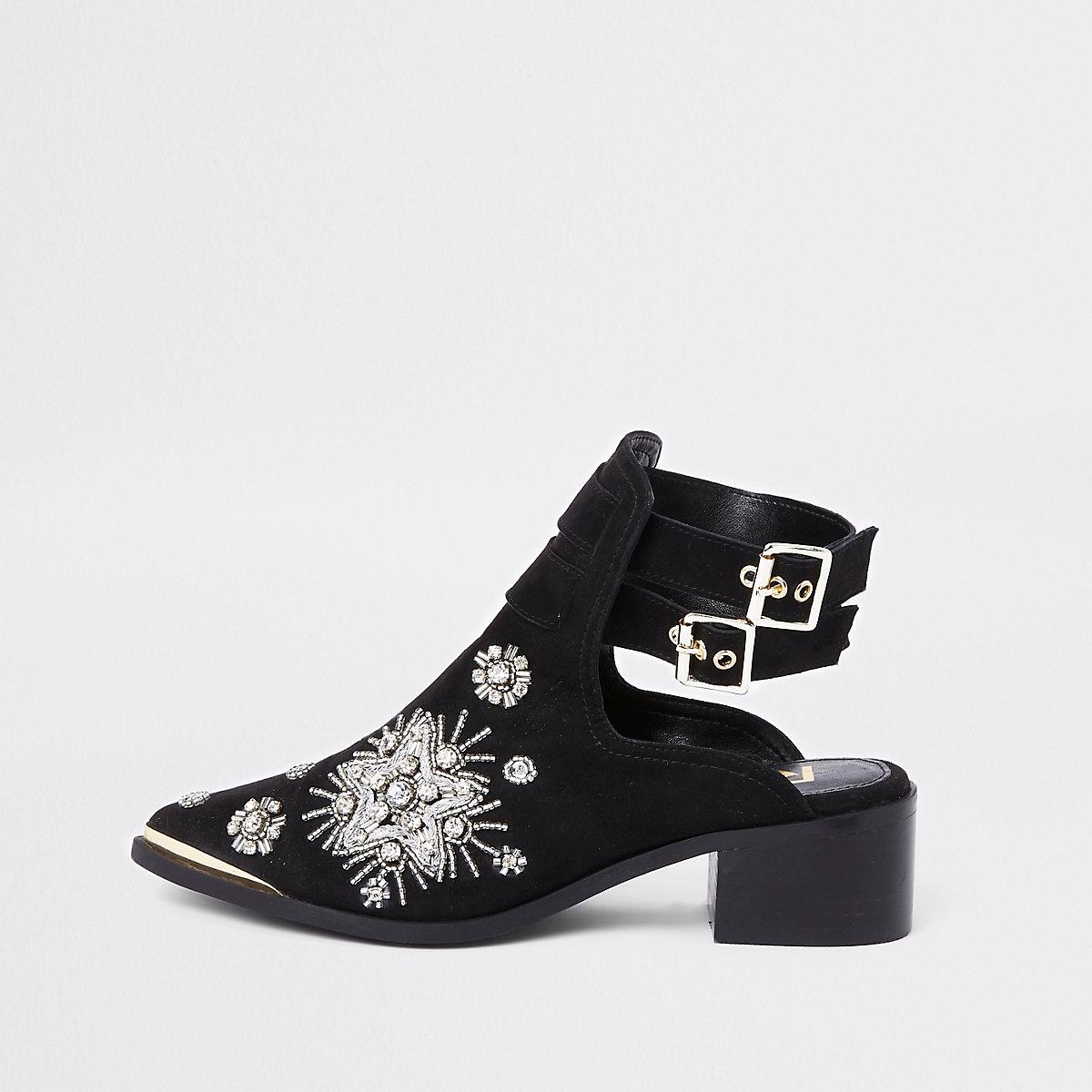 Black suede embellished backless boots