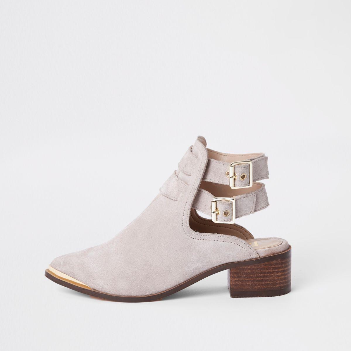 Cream suede double buckle shoe boots