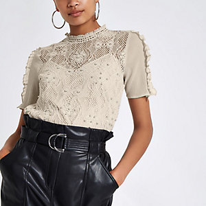 Grey lace beaded high neck top