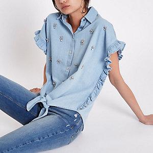 Lichtblauw verfraaid denim overhemd met strik voor