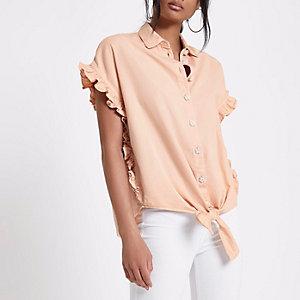 Lichtroze verfraaid denim overhemd met strik voor