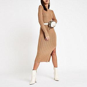 Hochgeschlossenes Bodycon-Kleid in Camel