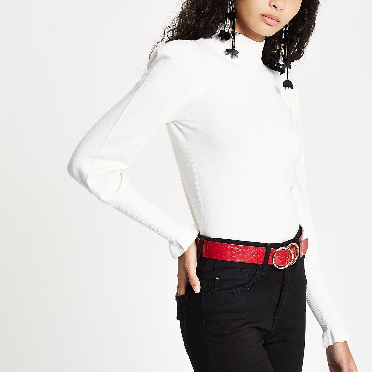 Cream turtle neck long sleeve sweater