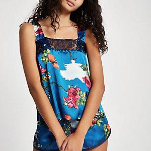 Blauwe kanten cami pyjamatop met bloemenprint en ketting
