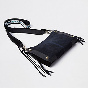 Navy woven strap cross body bag