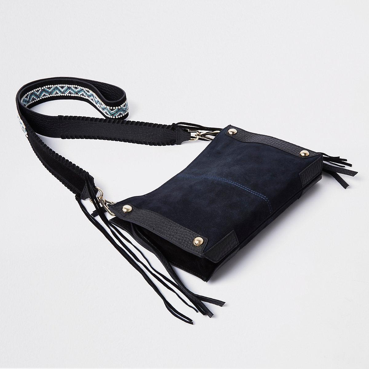 Navy woven strap cross body bag