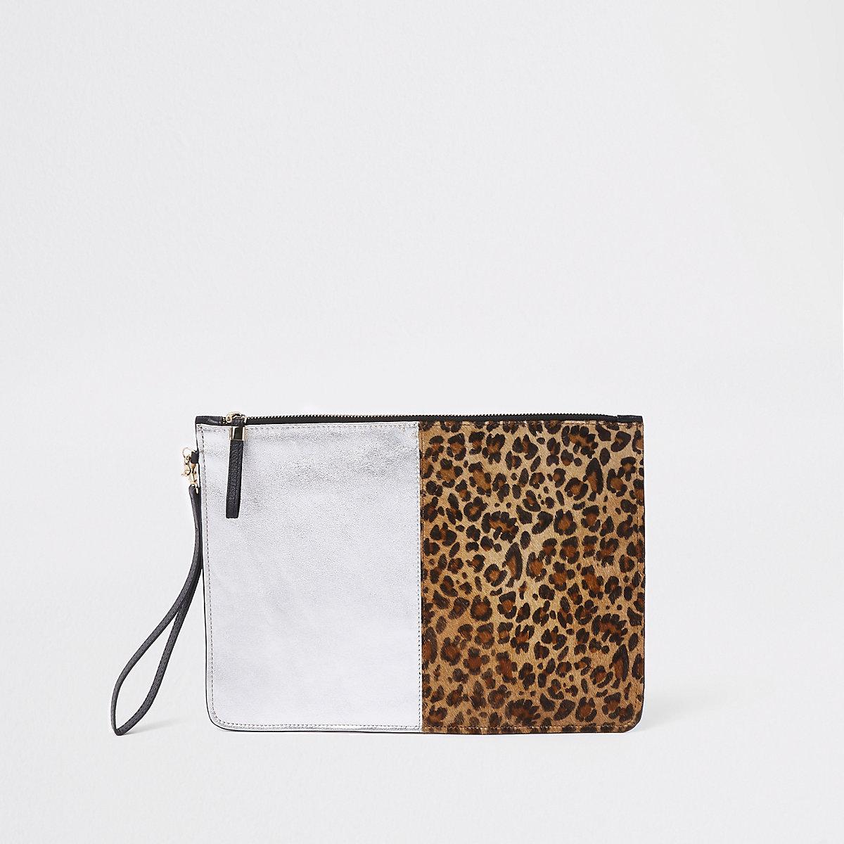 Leopard print panel pouch clutch bag