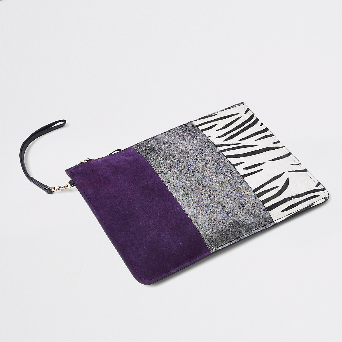 Silver leather panel pouch clutch bag