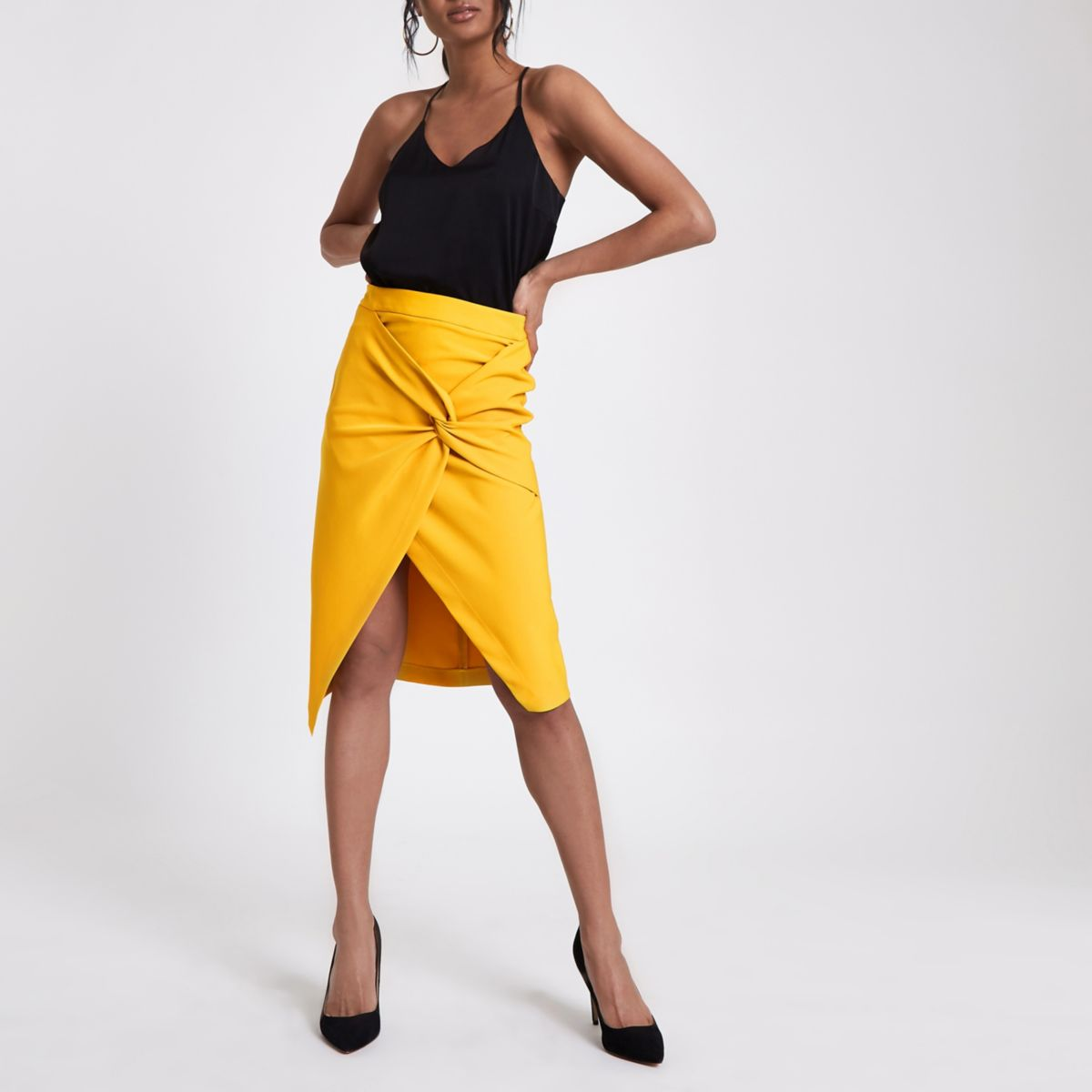 Yellow twist front pencil skirt
