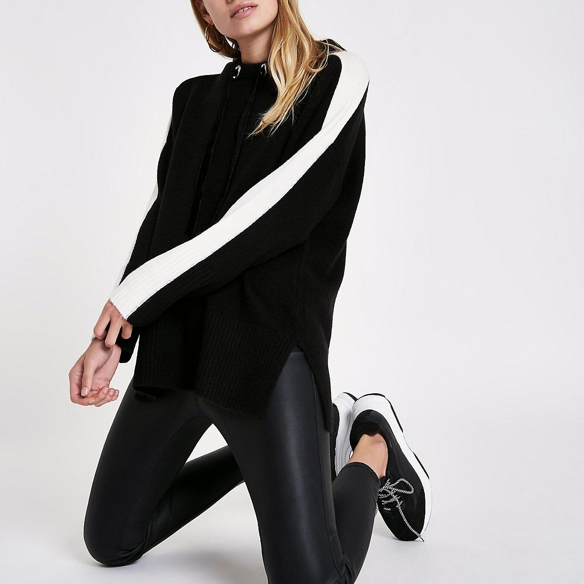 Black knitted stripe sleeve hooded sweater