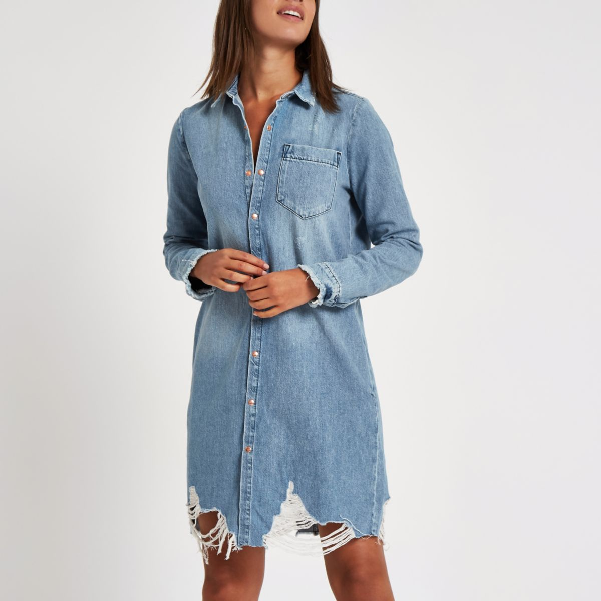Blue ripped denim shirt dress