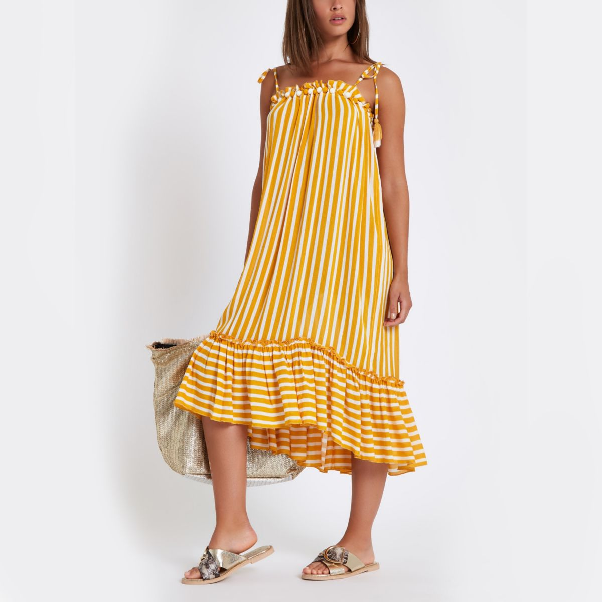 Yellow stripe pom pom beach dress