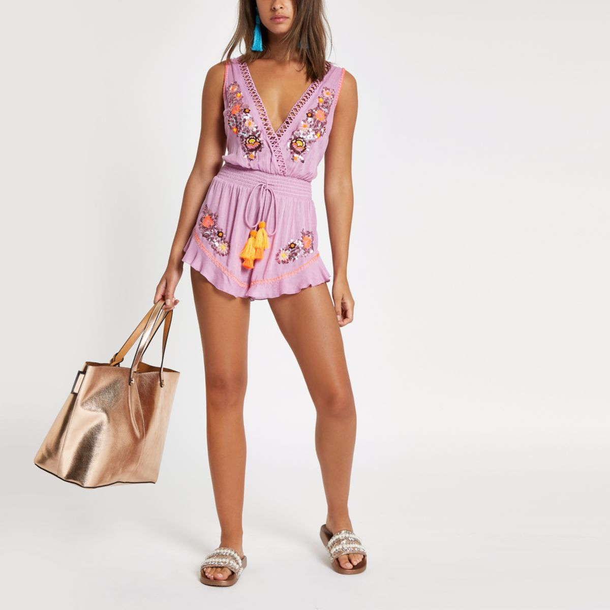 Womens Light Purple embellished beach playsuit River Island