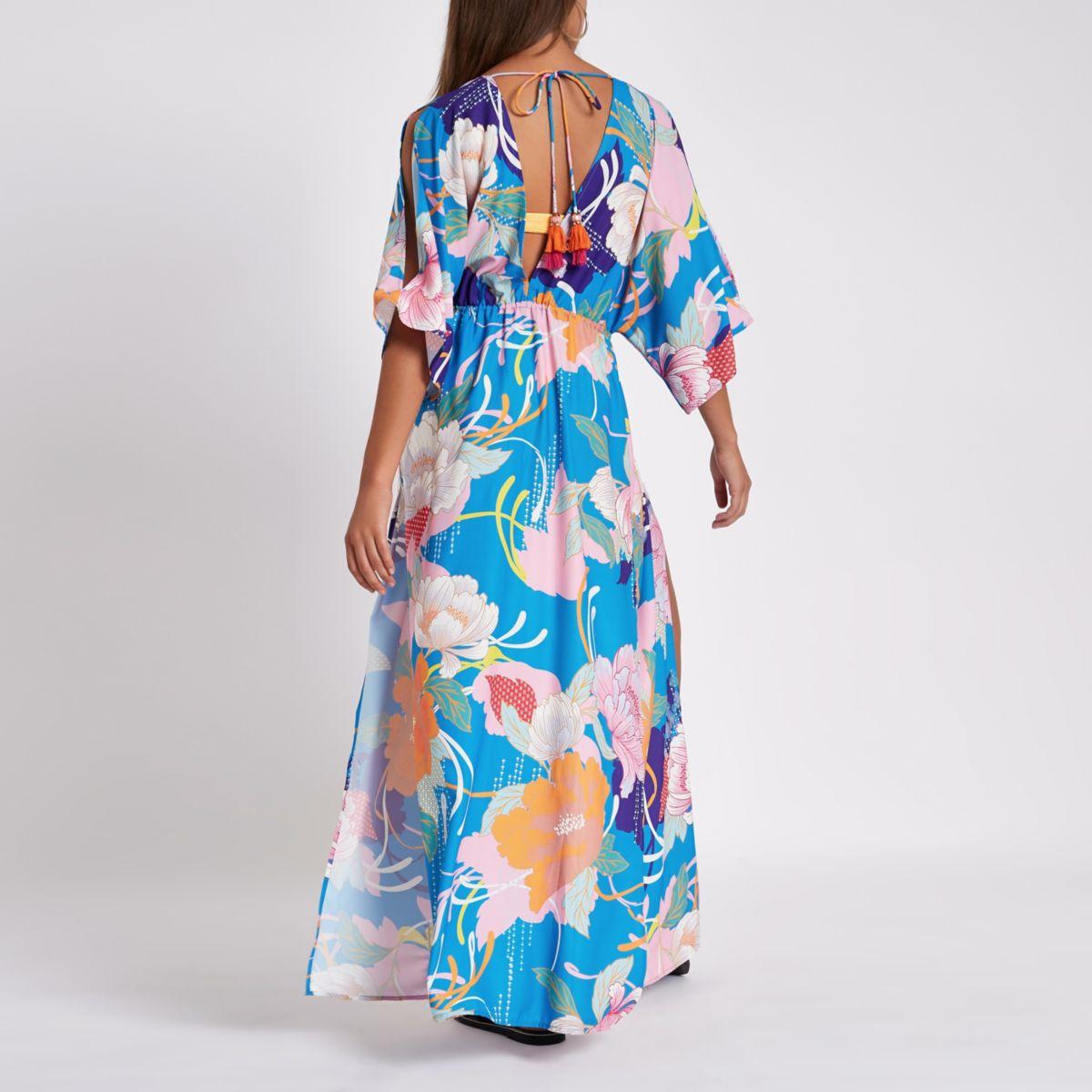 beach print embellished maxi Blue kaftan qaz04Rw