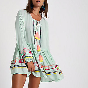 Green pom pom oversized beach cover up